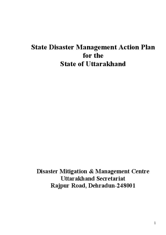 Uttrakhand Disaster management plan