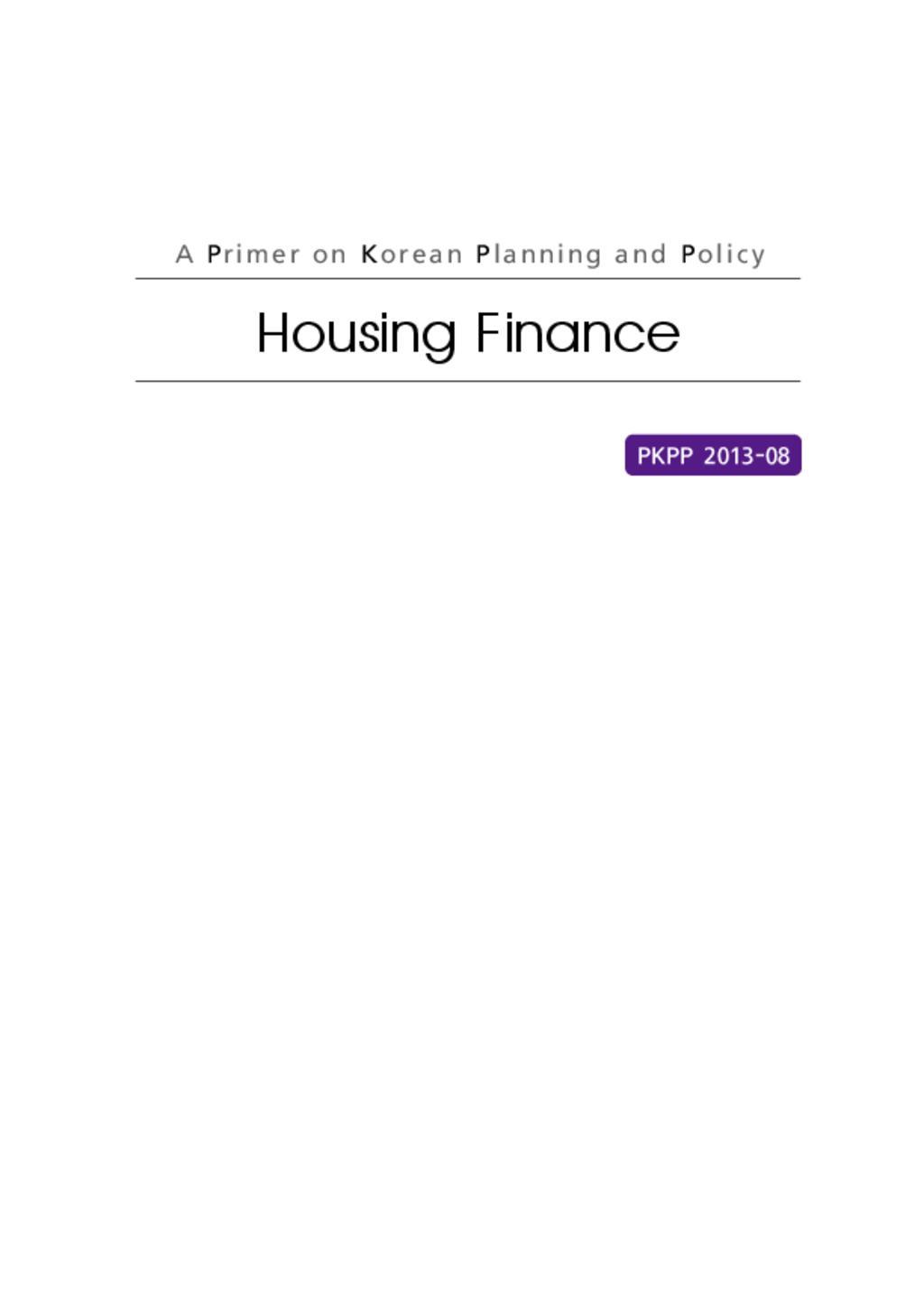 Housing Finance in Korea