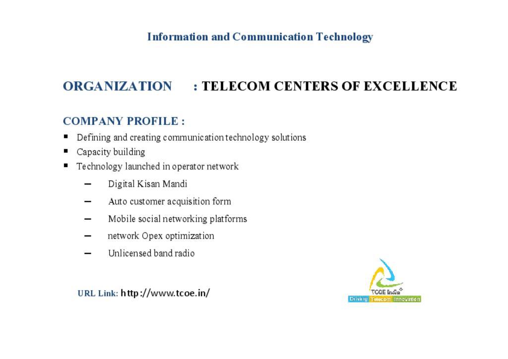 Telecom Centers of Excellence (TCOE)