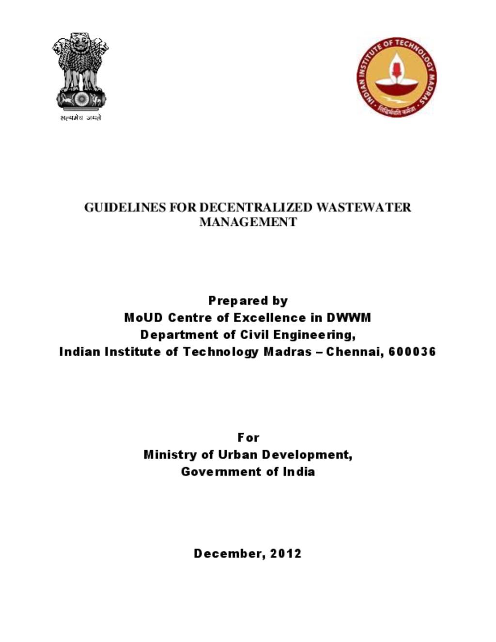 Decentralized Waste Water Management