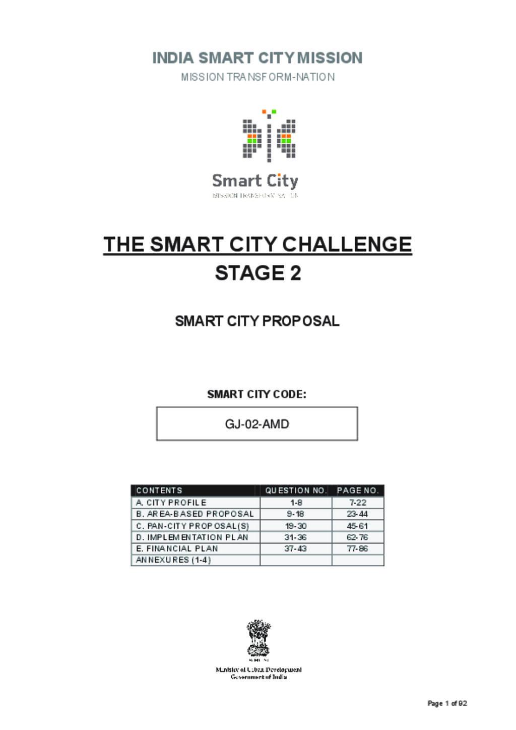 Smart City Proposal Ahmedabad