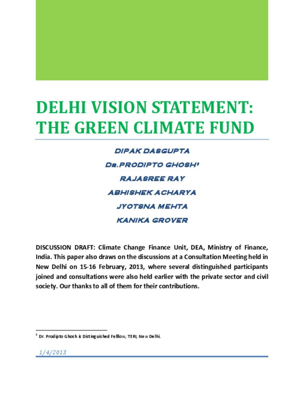 Delhi GCF financing