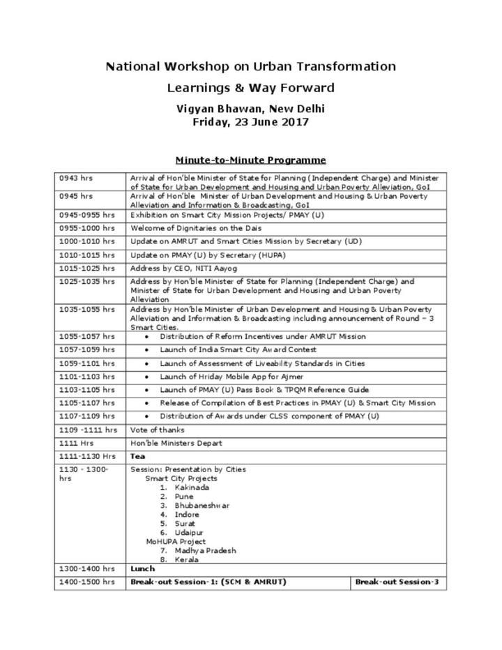 National Workshop on Urban Transformation