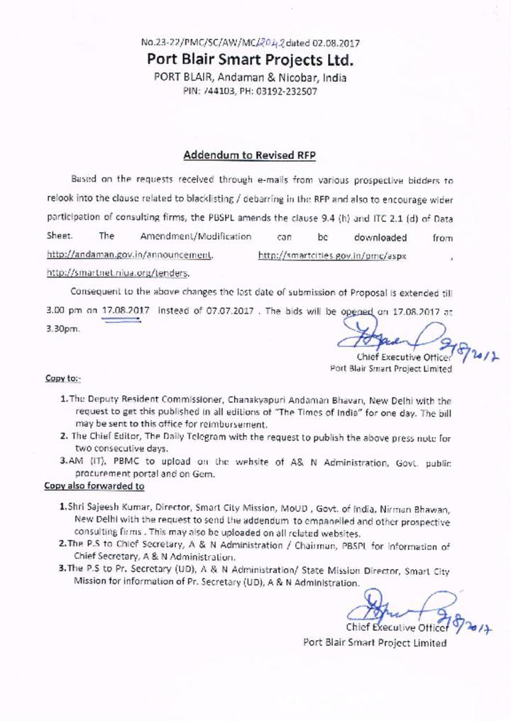 Addendum to Revised RFP