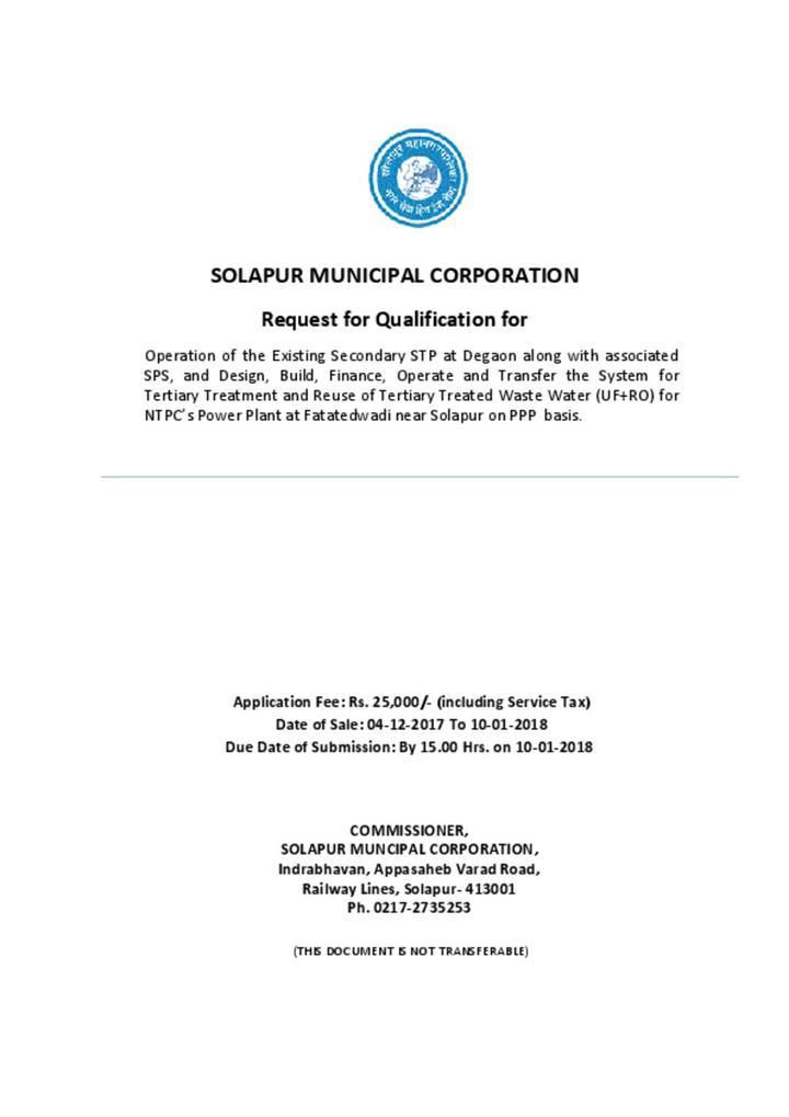 Solapur wastewater RFQ
