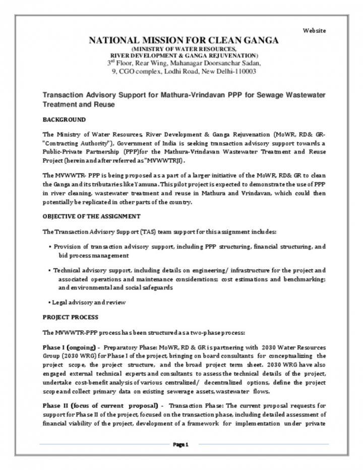 EOI for Transaction Advisory Support