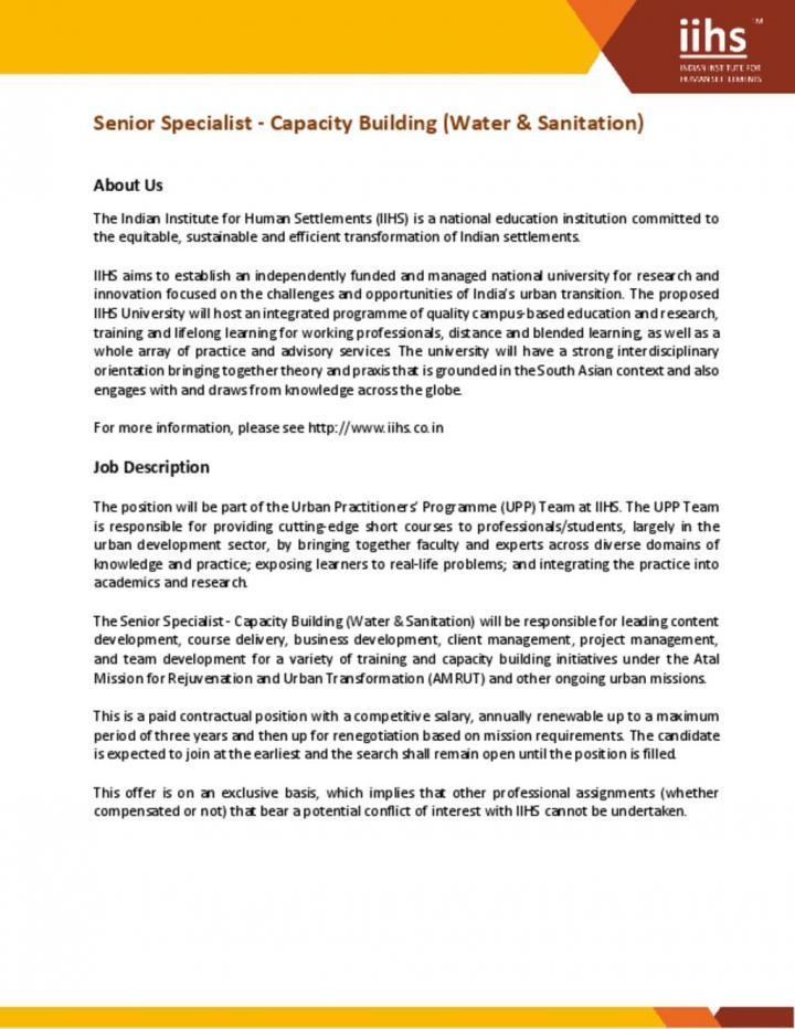 Senior Specialist - Capacity Building (Water & Sanitation)