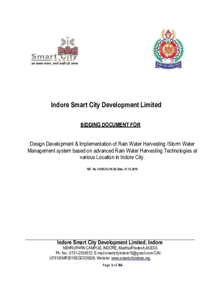 Bidding Document for Design Development & Implementation of Rain Water Harvesting / Storm Water Management system