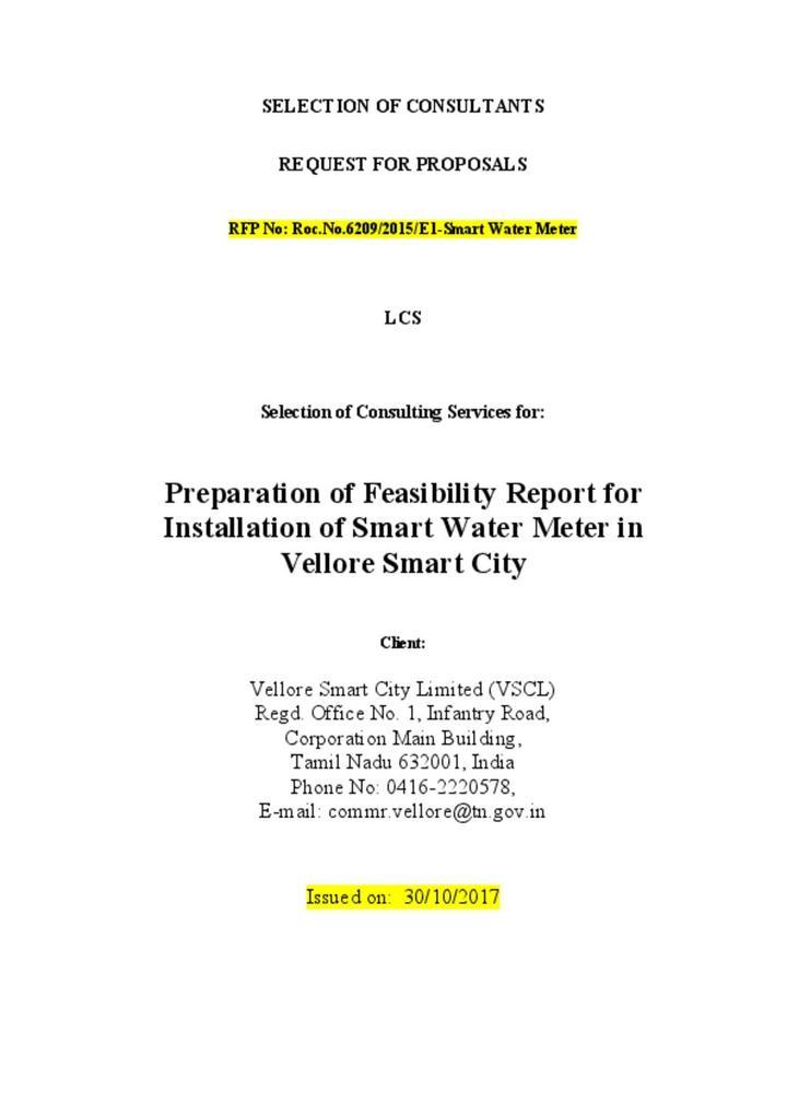 RFP Smart Water meter