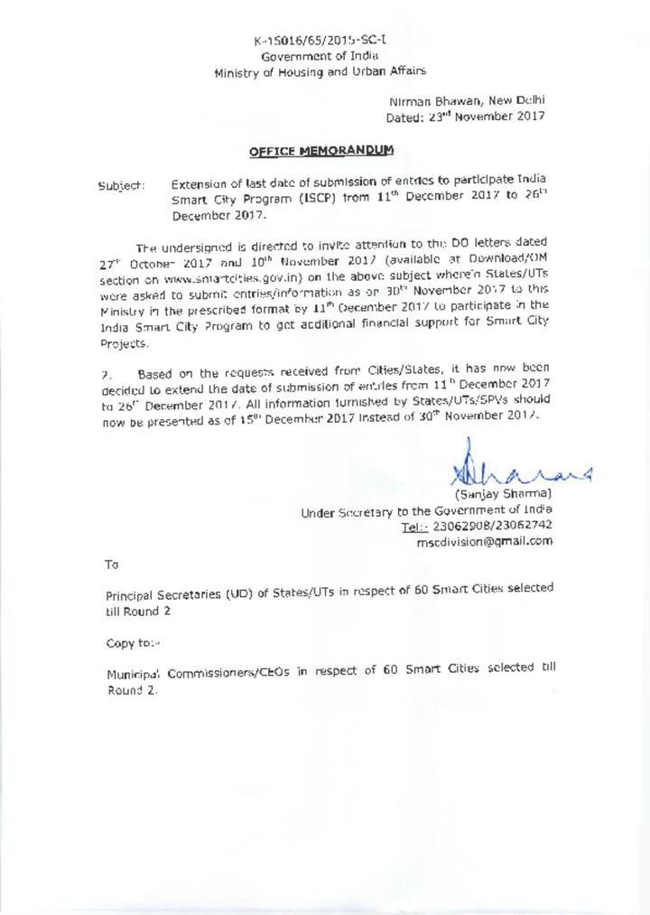 OM Regarding Extension