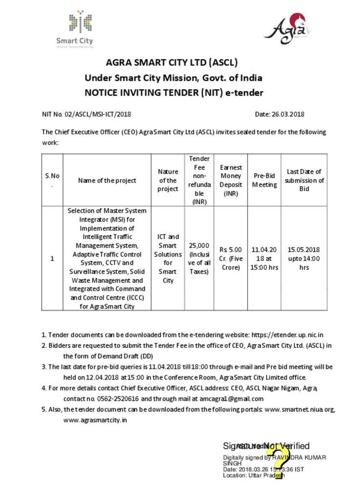 Agra System Integrator Notice