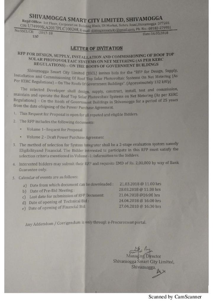 RFP Shivamogga Solar PV Notice