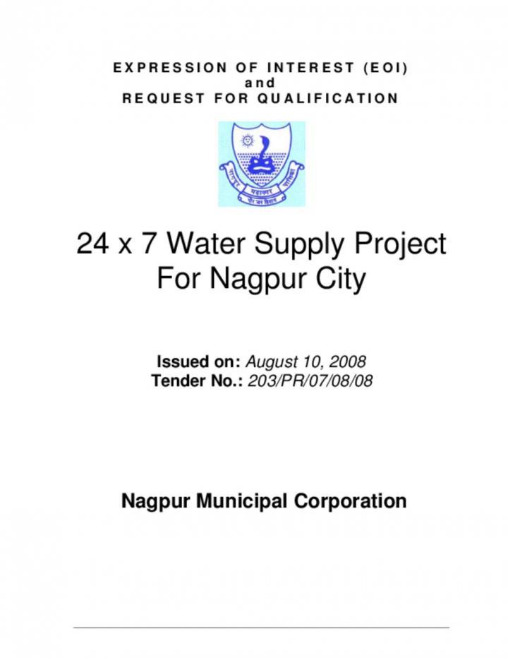 EOI RFQ 24X7 Water Supply