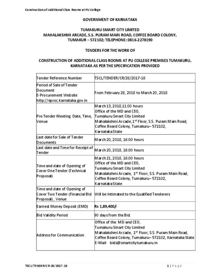 Schools in Tumakuru Notice