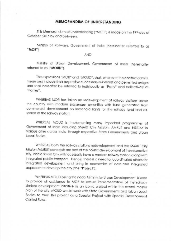Memorandum of Understanding between Ministry of Railways and Ministry of Urban Development